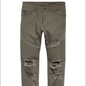 H&M 5-pocket distressed moto jeans